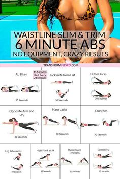 The Ultimate 6 Minute Abs Workout to Trim and Slim [AWESOME Results!] Slim and tone your waistline with this killer 6 minute abs workout! No equipment needed! This workout will really bring the burn, helping you melt fat. Abs Workout For Women, At Home Workout Plan, Workout Plans, House Workout, Simple Ab Workout, At Home Workouts For Women, Flat Tummy Workout, Stomach Workouts, Woman Workout