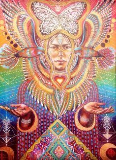 Bird Tribe Goddess Hawk Moon Phases Ayahuasca by Isabel Bryna of MariposaGalactica