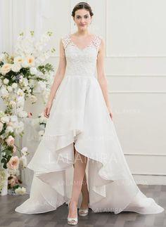 d52e52a2b12  US  199.49  A-Line Princess V-neck Asymmetrical Organza Wedding