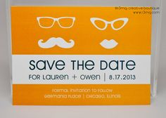 Wedding Save the Date  Mustache and Lips  Vows by r3mg   by r3mg, $20.00