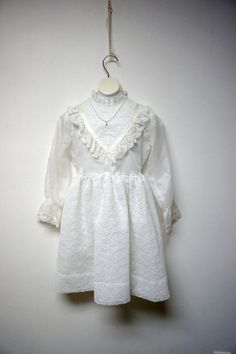 70s white sheer and lacy dress for girls . fits like a by june22