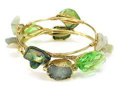 Wire Stone Bangle Set Druzy Green Gold Tone