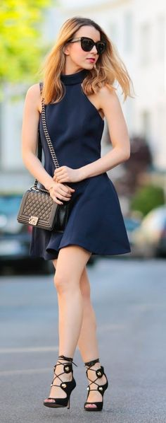 Navy Halter Dress Chic Style women fashion outfit clothing style apparel @roressclothes closet ideas