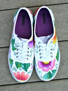 Hand painted shoes sneakers tropical art by ArtworksEclectic