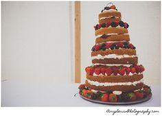 Naked Wedding cake - berries and fresh cream