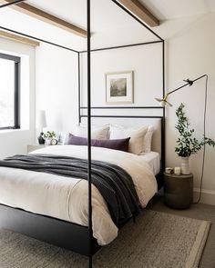 Studio McGee (@studiomcgee) • Instagram photos and videos Wooden Beams Ceiling, Basement Guest Rooms, Bunk Rooms, Bedrooms, Wooden Closet, Linen Headboard, Studio Mcgee, Guest Bed, Bedding Shop