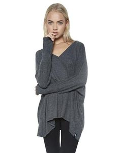 Michael Lauren Harman Oversized V-Neck Pullover w/Thumbholes in Black
