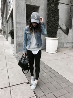 Denim jacket with yoga pants & a grey sweatshirt is becoming synonymous with the athleisure look. #athleisure
