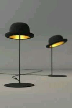 Tiltable Jeeves bowler hat table lights by Jake Phipps for Innermost. 6288f26866de