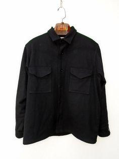 FILSON GARMENT Black Wool Coat Jacket SIze 44 #FilsonGarment #BasicCoat