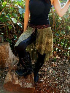 green fantasy style yoga style wear for women romantic skirt high low wrap skirt elf elven forest fairy costume boho fashion short fun skirt on Etsy, $56.58 AUD