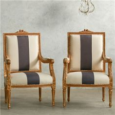 Eloquence One of a Kind Vintage Armchair Louis XVI Dusty Violet Stripe Set of 2