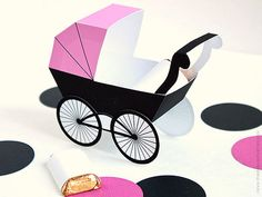Baby Carriage Favor Box - Pink & Black : DIY Printable Baby  Buggy Gift Box | Pram | Baby Girl | Baby Shower Favor - Instant Download #babyshower #packaging