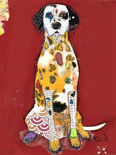 Original Dog Art Dalmation Mixed Media Abstract Collage Art Painting by Michel Keck. Collages, Abstract Canvas Art, Canvas Art Prints, Mixed Media Collage, Collage Art, Le Chihuahua, Dog Artist, Saatchi Online, Dog Paintings