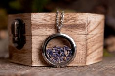Lavender necklace, lavender seeds necklace, nature necklace, stainless steel necklace, purple lavender necklace, lavender locket necklace