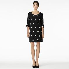 Kate Spade - Maria Spot Dress - 3/4 length sleeves with ruffle detail.