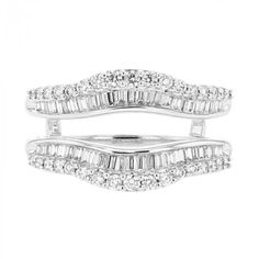 Diamond Cradle Wedding Band, Enhancer Ring, Baguette and Round, 14K Gold, .74CT