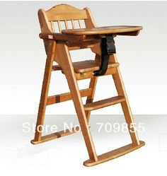 Baby Furniture Brand Wood Feeding Highchair Superior Folding Adjustable Kid High Chair with Tray and Bar