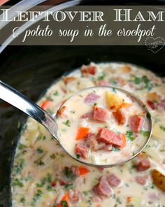 The BEST leftover ham soup recipe ever that cooks by itself in the crockpot!! Seriously so amazing!