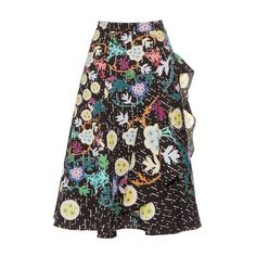 Peter Pilotto Japanese floral-print cloqué midi skirt ($1,110) ❤ liked on Polyvore featuring skirts, black multi, midi skirt, floral a line skirt, mid calf skirts, floral midi skirt and floral print skirt
