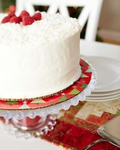 For a one-of-a-kind cake plate, fuse seasonal fabric to a cardboard cake round and cover it with a plastic protector.