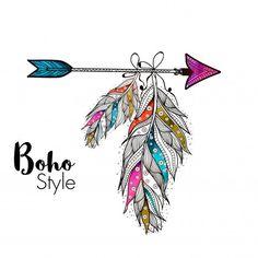 Penas ornamentais estilo Boho penduradas na seta, elementos étnicos criativos desenhados a mão. Vetor grátis