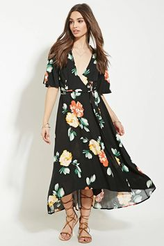 Floral Print Wrap Midi Dress #letscelebrate