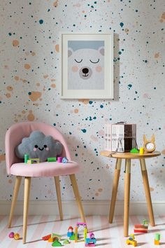 On the lookout for playful wallpaper designs? This speckle wallpaper design combines bright colours with joyful paint splatters. Perfect for kid's rooms and playroom spaces. The post Peach and Green Speckle Wallpaper