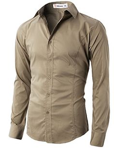 H2H Mens Wrinkle Free Slim Fit Dress Shirts with Solid Long Sleeve BEIGE US S/Asia M (JASK14) H2H #Christmas #mens fashion #shirts #menswear #slim fit #Denim