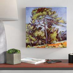 Gerahmtes Leinwandbild Alte Meister Die grosse Kiefer von Paul Cézanne, Kunstdruck