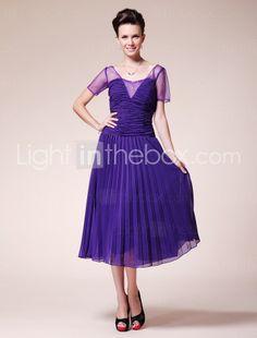 A-line Square Tea-length Chiffon Mother of the Bride Dress