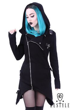 """""""Asymmetric Hoodie"""" Long blouse with pockets and detachable hood. Up to XXL."""