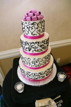 My lovely wedding cake :) for my pink and black wedding