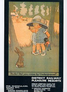 an adorable london underground poster by lucie mabel attwell.