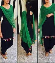 Buy Black georgette embroidered semi stitched salwar with dupatta punjabi-suit online