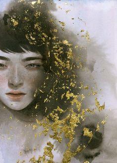 Tran Nguyen #gold #painting #portrait