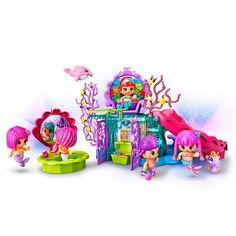 Pin y Pon - Reino de Sirenas, un set que incluye 1 figura de una sirena, 1 mascota, parte del reino con el trono, 1 espejito y más de 20 accesorios. Un playset mágico Pin y Pon Reino de Sirenas, lleno de secretos y magia,  para los fans de los Pin y Pon y de las sirenas.
