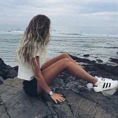 Summer outfit // Black and white striped tee // black watch // adidas superstars // ombre hair // brandy melville // alex centomo // casual
