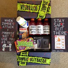 Zombie Outbreak Halloween care package idea for college kids Spooktacular ideas Halloween that are sure to dazzle any college kid! Fun, spooky, and thoughtful ways to decorate a care package for a student. Missionary Packages, Deployment Care Packages, Military Care Packages, Halloween Gift Baskets, Halloween Gifts, Halloween Ideas, Halloween College, Halloween Snacks, Cute Gifts