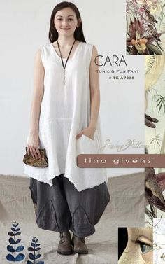 Cara Tunic & Pants Sewing Pattern by Tina Givens- Lagenlook Style! by KnittingontheFringe on Etsy Tunic Sewing Patterns, Pattern Sewing, Clothing Patterns, Clubbing Outfits, Shabby Chic, Boho Chic, Techniques Couture, Sewing Techniques, Sewing Projects For Beginners