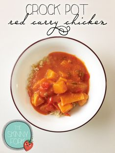Crock Pot Red Curry Chicken from The Skinny Fork - Easy, healthy, and tastes amazing! Right at 250 calories in a full serving.