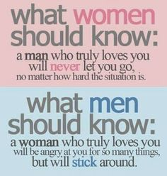 What women should know : a man who truly loves you will never let you go, no matter how hard the situation is. What men should know :  a woman who truly loves you will be angry at you for so many things, but will stick around