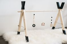 Wooden Play Gym Black Dipped Teething Toy by MelanieRaeWoodDesign