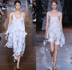 Stella McCartney 2015 Spring Summer Womens Runway Catwalk Looks - Mode à Paris Fashion Week Prêt-à-Porter Mode Féminin Femme France - Denim Jeans Curved Asymmetrical Handkerchief Hem Belt Straps Wide Leg Palazzo Pants Trousers 3D Laser Cutout Flowers Florals Sheer Embroidery Dress Wrap Skirt Frock Jacket Halter Top Ruffles Drapery Silk Bomberdress Shirtdress Cinch Waist Plaid One Shoulder Jumpsuit Onesie