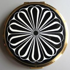 Stratton compact with black and white pattern.  Photographed by Gillian Horsup.
