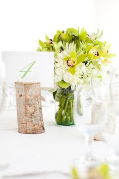 Table number in a birch log...