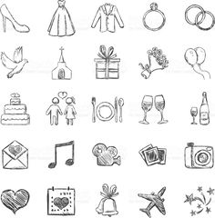 Vector Set of Sketch Weddings Icons Royalty Free Vector Art Source by Wedding Timeline, Wedding Album, Wedding Cards, Diy Wedding, Wedding Gifts, Wedding Invitations, Wedding Bells, Wedding Icons, Map Icons