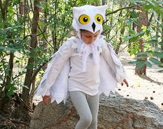 Owl Costume Sizes 2T - Size 8 in White & Grey Snowy Owl • Imagination Play • Dress Up • Hedwig • Harry Potter • Halloween