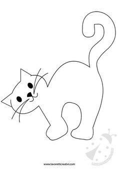 Moldes Halloween, Adornos Halloween, Halloween Crafts, Felt Patterns, Applique Patterns, Applique Designs, Art Drawings For Kids, Easy Drawings, Cat Crafts