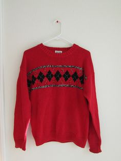 c4b86bbc296837 Knit Patterned Sweater - Red